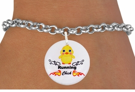 "<bR>                               EXCLUSIVELY OURS!!<BR>                         AN ALLAN ROBIN DESIGN!!<BR>                CLICK HERE TO SEE 600+ EXCITING<BR>                   CHANGES THAT YOU CAN MAKE!<BR>                             LEAD & NICKEL FREE!!<BR>       W1126SB - ""RUNNING CHICK"" CHARM <Br>      & BRACELET FROM $4.15 TO $8.00 �2011"