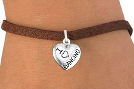 """<bR>                       EXCLUSIVELY OURS!!<BR>                 AN ALLAN ROBIN DESIGN!!<BR>        CLICK HERE TO SEE 600+ EXCITING<BR>           CHANGES THAT YOU CAN MAKE!<BR>                     LEAD & NICKEL FREE!!<BR>W1180SB - """"I LOVE DANCING"""" HEART CHARM  <Br>& BRACELET FROM $4.15 TO $8.00 �2012"""