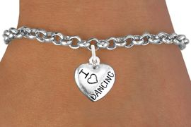 """<bR>                       EXCLUSIVELY OURS!!<BR>                 AN ALLAN ROBIN DESIGN!!<BR>        CLICK HERE TO SEE 600+ EXCITING<BR>           CHANGES THAT YOU CAN MAKE!<BR>           LEAD,CADMIUM, & NICKEL FREE!!<BR>W1180SB - """"I LOVE DANCING"""" HEART CHARM  <Br>               & BRACELET $9.68 EACH �2012"""