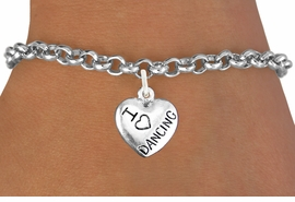 "<bR>                       EXCLUSIVELY OURS!!<BR>                 AN ALLAN ROBIN DESIGN!!<BR>        CLICK HERE TO SEE 600+ EXCITING<BR>           CHANGES THAT YOU CAN MAKE!<BR>           LEAD,CADMIUM, & NICKEL FREE!!<BR>W1180SB - ""I LOVE DANCING"" HEART CHARM  <Br>               & BRACELET $9.68 EACH �2012"