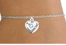 "<bR>                       EXCLUSIVELY OURS!!<BR>                 AN ALLAN ROBIN DESIGN!!<BR>        CLICK HERE TO SEE 600+ EXCITING<BR>           CHANGES THAT YOU CAN MAKE!<BR>                     LEAD & NICKEL FREE!!<BR>W1180SB - ""I LOVE DANCING"" HEART CHARM  <Br>& CHILDRENS BRACELET FROM $4.15 TO $8.00 �2012"