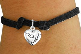 """<bR>                       EXCLUSIVELY OURS!!<BR>                 AN ALLAN ROBIN DESIGN!!<BR>        CLICK HERE TO SEE 600+ EXCITING<BR>           CHANGES THAT YOU CAN MAKE!<BR>                     LEAD & NICKEL FREE!!<BR>W1180SB - """"I LOVE DANCING"""" HEART CHARM  <Br>& CHILDRENS BRACELET FROM $4.15 TO $8.00 �2012"""