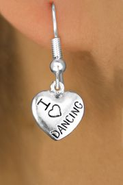 """<bR>                           EXCLUSIVELY OURS!!<BR>                     AN ALLAN ROBIN DESIGN!!<BR>            CLICK HERE TO SEE 600+ EXCITING<BR>               CHANGES THAT YOU CAN MAKE!<BR>                          LEAD & NICKEL FREE!!<BR>W1180SE - """"I LOVE DANCING"""" HEART CHARM <Br>EARRINGS FROM $4.50 TO $8.35 �2012"""