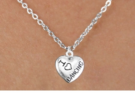 "<bR>                  EXCLUSIVELY OURS!!<BR>            AN ALLAN ROBIN DESIGN!!<BR>   CLICK HERE TO SEE 600+ EXCITING<BR>      CHANGES THAT YOU CAN MAKE!<BR>                 LEAD & NICKEL FREE!!<BR>W1180SN - ""I LOVE DANCING"" HEART CHARM <Br>& CHILDRENS NECKLACE FROM $4.50 TO $8.35 �2012"