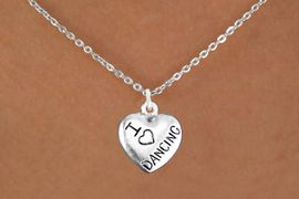 """<bR>                  EXCLUSIVELY OURS!!<BR>            AN ALLAN ROBIN DESIGN!!<BR>   CLICK HERE TO SEE 600+ EXCITING<BR>      CHANGES THAT YOU CAN MAKE!<BR>                 LEAD & NICKEL FREE!!<BR>W1180N1 - """"I LOVE DANCING"""" HEART CHARM <Br>           & NECKLACE $9.38 EACH �2012"""