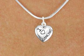 """<bR>                       EXCLUSIVELY OURS!!<BR>                 AN ALLAN ROBIN DESIGN!!<BR>        CLICK HERE TO SEE 600+ EXCITING<BR>           CHANGES THAT YOU CAN MAKE!<BR>                      LEAD & NICKEL FREE!!<BR>W1180N2 - """"I LOVE DANCING"""" HEART CHARM <Br>            & NECKLACE $9.68 EACH �2012"""