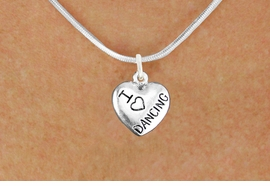 "<bR>                       EXCLUSIVELY OURS!!<BR>                 AN ALLAN ROBIN DESIGN!!<BR>        CLICK HERE TO SEE 600+ EXCITING<BR>           CHANGES THAT YOU CAN MAKE!<BR>                      LEAD & NICKEL FREE!!<BR>W1180N2 - ""I LOVE DANCING"" HEART CHARM <Br>            & NECKLACE $9.68 EACH �2012"