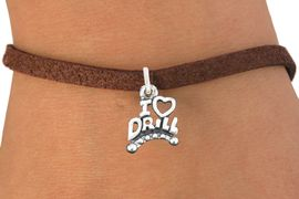 """<bR>                       EXCLUSIVELY OURS!!<BR>                 AN ALLAN ROBIN DESIGN!!<BR>        CLICK HERE TO SEE 600+ EXCITING<BR>           CHANGES THAT YOU CAN MAKE!<BR>                     LEAD & NICKEL FREE!!<BR>W1181SB - """"I LOVE DRILL"""" CHARM  <Br>& BRACELET FROM $4.15 TO $8.00 �2012"""