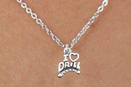 """<bR>                  EXCLUSIVELY OURS!!<BR>            AN ALLAN ROBIN DESIGN!!<BR>   CLICK HERE TO SEE 600+ EXCITING<BR>      CHANGES THAT YOU CAN MAKE!<BR>                 LEAD & NICKEL FREE!!<BR>W1181SN - """"I LOVE DRILL"""" CHARM <Br>& CHILDRENS NECKLACE FROM $4.50 TO $8.35 �2012"""