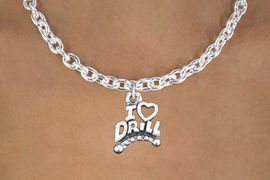 """<bR>                  EXCLUSIVELY OURS!!<BR>            AN ALLAN ROBIN DESIGN!!<BR>   CLICK HERE TO SEE 600+ EXCITING<BR>      CHANGES THAT YOU CAN MAKE!<BR>                 LEAD & NICKEL FREE!!<BR>W1181SN - """"I LOVE DRILL"""" CHARM <Br>& NECKLACE FROM $4.50 TO $8.35 �2012"""