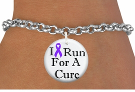 """<bR>                          EXCLUSIVELY OURS!!<BR>                    AN ALLAN ROBIN DESIGN!!<BR>           CLICK HERE TO SEE 600+ EXCITING<BR>              CHANGES THAT YOU CAN MAKE!<BR>                       LEAD & NICKEL FREE!!<BR>W1187SB - PURPLE RIBBON """"I RUN FOR A CURE"""" <Br>CHARM & BRACELET FROM $4.15 TO $8.00 �2012"""