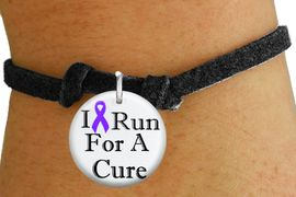"""<bR>                          EXCLUSIVELY OURS!!<BR>                    AN ALLAN ROBIN DESIGN!!<BR>           CLICK HERE TO SEE 600+ EXCITING<BR>              CHANGES THAT YOU CAN MAKE!<BR>                       LEAD & NICKEL FREE!!<BR>W1187SB - PURPLE RIBBON """"I RUN FOR A CURE"""" CHARM <Br>& CHILDRENS BRACELET FROM $4.15 TO $8.00 �2012"""