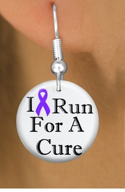 "<bR>                               EXCLUSIVELY OURS!!<BR>                         AN ALLAN ROBIN DESIGN!!<BR>                CLICK HERE TO SEE 600+ EXCITING<BR>                   CHANGES THAT YOU CAN MAKE!<BR>                              LEAD & NICKEL FREE!!<BR>W1187SE - PURPLE RIBBON ""I RUN FOR A CURE"" <Br>CHARM EARRINGS FROM $4.50 TO $8.35 �2012"