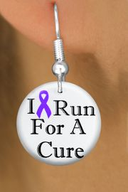 """<bR>                               EXCLUSIVELY OURS!!<BR>                         AN ALLAN ROBIN DESIGN!!<BR>                CLICK HERE TO SEE 600+ EXCITING<BR>                   CHANGES THAT YOU CAN MAKE!<BR>                              LEAD & NICKEL FREE!!<BR>W1187SE - PURPLE RIBBON """"I RUN FOR A CURE"""" <Br>CHARM EARRINGS FROM $4.50 TO $8.35 �2012"""