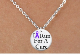 "<bR>                              EXCLUSIVELY OURS!!<BR>                        AN ALLAN ROBIN DESIGN!!<BR>               CLICK HERE TO SEE 600+ EXCITING<BR>                  CHANGES THAT YOU CAN MAKE!<BR>                             LEAD & NICKEL FREE!!<BR>  W1187SN - PURPLE RIBBON ""I RUN FOR A CURE"" CHARM  <Br>& CHILDRENS NECKLACE FROM $4.50 TO $8.35 �2012"
