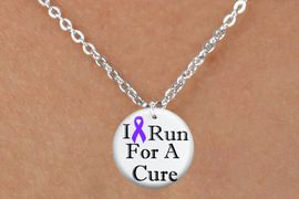 """<bR>                              EXCLUSIVELY OURS!!<BR>                        AN ALLAN ROBIN DESIGN!!<BR>               CLICK HERE TO SEE 600+ EXCITING<BR>                  CHANGES THAT YOU CAN MAKE!<BR>                             LEAD & NICKEL FREE!!<BR>  W1187SN - PURPLE RIBBON """"I RUN FOR A CURE"""" CHARM  <Br>& CHILDRENS NECKLACE FROM $4.50 TO $8.35 �2012"""