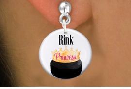 """<bR>                           EXCLUSIVELY OURS!!<BR>                     AN ALLAN ROBIN DESIGN!!<BR>            CLICK HERE TO SEE 600+ EXCITING<BR>               CHANGES THAT YOU CAN MAKE!<BR>                          LEAD & NICKEL FREE!!<BR>W1192SE - """"RINK PRINCESS"""" WOMENS ICE HOCKEY<Br>CHARM EARRINGS FROM $4.50 TO $8.35 �2012"""