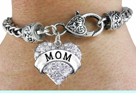 """<bR>                   EXCLUSIVELY OURS!!<BR>             AN ALLAN ROBIN DESIGN!!<BR>    CLICK HERE TO SEE 600+ EXCITING<BR>       CHANGES THAT YOU CAN MAKE!<BR>                 LEAD & NICKEL FREE!!<BR>W1215SB - AUSTRIAN CRYSTAL """"MOM"""" <BR>HEART CHARM & HEART CLASP BRACELET <BR>         FROM $5.63 TO $12.50 �2012"""