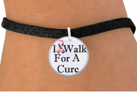 """<bR>                          EXCLUSIVELY OURS!!<BR>                    AN ALLAN ROBIN DESIGN!!<BR>           CLICK HERE TO SEE 600+ EXCITING<BR>              CHANGES THAT YOU CAN MAKE!<BR>                       LEAD & NICKEL FREE!!<BR>W1229SB - AUTISM RIBBON """"I WALK FOR A CURE"""" <Br>CHARM & BRACELET FROM $4.15 TO $8.00 �2012"""
