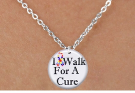 """<bR>                              EXCLUSIVELY OURS!!<BR>                        AN ALLAN ROBIN DESIGN!!<BR>               CLICK HERE TO SEE 600+ EXCITING<BR>                  CHANGES THAT YOU CAN MAKE!<BR>                             LEAD & NICKEL FREE!!<BR>W1229SN - AUTISM RIBBON """"I WALK FOR A CURE""""  <Br>         CHARM & CHILDRENS NECKLACE <BR>                   FROM $4.50 TO $8.35 �2012"""
