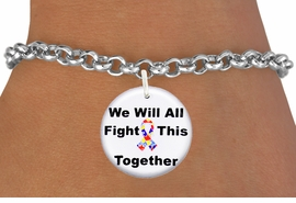 """<bR>                EXCLUSIVELY OURS!!<BR>          AN ALLAN ROBIN DESIGN!!<BR>  CLICK HERE TO SEE 600+ EXCITING <BR>    CHANGES THAT YOU CAN MAKE!<BR>             LEAD & NICKEL FREE!! <BR>W1230SB - AUTISM PUZZLE RIBBON <BR>""""WE WILL ALL FIGHT THIS TOGETHER"""" <Br>                    CHARM & BRACELET <BR>        FROM $4.15 TO $8.00 �2012"""