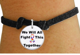 """<bR>                EXCLUSIVELY OURS!!<BR>          AN ALLAN ROBIN DESIGN!!<BR>  CLICK HERE TO SEE 600+ EXCITING <BR>    CHANGES THAT YOU CAN MAKE!<BR>             LEAD & NICKEL FREE!! <BR>W1230SB - AUTISM PUZZLE RIBBON <BR>""""WE WILL ALL FIGHT THIS TOGETHER"""" <Br>     CHARM & CHILDRENS BRACELET <BR>        FROM $4.15 TO $8.00 �2012"""