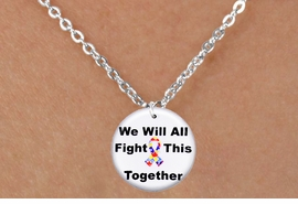 """<bR>                  EXCLUSIVELY OURS!!<BR>            AN ALLAN ROBIN DESIGN!!<BR>   CLICK HERE TO SEE 600+ EXCITING<BR>      CHANGES THAT YOU CAN MAKE!<BR>                 LEAD & NICKEL FREE!!<BR> W1230SN - AUTISM PUZZLE RIBBON  <BR>""""WE WILL ALL FIGHT THIS TOGETHER""""  <Br>      CHARM & CHILDREN'S NECKLACE <BR>        FROM $4.50 TO $8.35 �2012"""