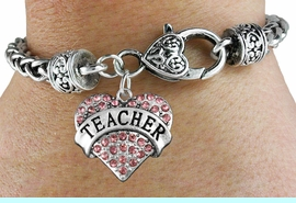 """<bR>                 EXCLUSIVELY OURS!!<BR>           AN ALLAN ROBIN DESIGN!!<BR>  CLICK HERE TO SEE 600+ EXCITING<BR>     CHANGES THAT YOU CAN MAKE!<BR>               LEAD & NICKEL FREE!!<BR>W1242SB - ROSE CRYSTAL """"TEACHER"""" <BR>     HEART ON HEART CLASP BRACELET <BR>        FROM $5.63 TO $12.50 �2012"""
