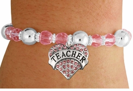 "<bR>                 EXCLUSIVELY OURS!!<BR>           AN ALLAN ROBIN DESIGN!!<BR>  CLICK HERE TO SEE 600+ EXCITING<BR>     CHANGES THAT YOU CAN MAKE!<BR>               LEAD & NICKEL FREE!!<BR>W1242SB - ROSE CRYSTAL ""TEACHER"" <BR>   HEART ON PINK CRYSTAL BRACELET <BR>        FROM $6.41 TO $14.25 �2012"