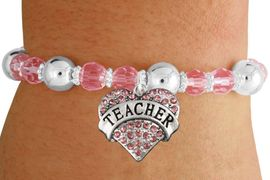"""<bR>                 EXCLUSIVELY OURS!!<BR>           AN ALLAN ROBIN DESIGN!!<BR>  CLICK HERE TO SEE 600+ EXCITING<BR>     CHANGES THAT YOU CAN MAKE!<BR>               LEAD & NICKEL FREE!!<BR>W1242SB - ROSE CRYSTAL """"TEACHER"""" <BR>   HEART ON PINK CRYSTAL BRACELET <BR>        FROM $6.41 TO $14.25 �2012"""