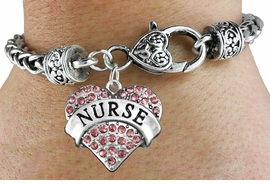 "<bR>                 EXCLUSIVELY OURS!!<BR>           AN ALLAN ROBIN DESIGN!!<BR>  CLICK HERE TO SEE 600+ EXCITING<BR>     CHANGES THAT YOU CAN MAKE!<BR>               LEAD & NICKEL FREE!!<BR>  W1243SB - ROSE CRYSTAL ""NURSE"" <BR>     HEART ON HEART CLASP BRACELET <BR>        FROM $5.63 TO $12.50 �2012"