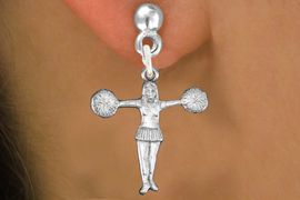 """<bR>               EXCLUSIVELY OURS!!<BR>         AN ALLAN ROBIN DESIGN!!<BR>CLICK HERE TO SEE 600+ EXCITING<BR>   CHANGES THAT YOU CAN MAKE!<BR>              LEAD & NICKEL FREE!! <BR>W1267SE -  """"T POSE"""" CHEERLEADER <BR>   CHARM PIERCED EAR EARRINGS <BR>      FROM $4.50 TO $8.35 �2012"""