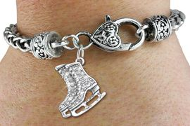 <bR>                   EXCLUSIVELY OURS!!<BR>             AN ALLAN ROBIN DESIGN!!<BR>    CLICK HERE TO SEE 600+ EXCITING<BR>       CHANGES THAT YOU CAN MAKE!<BR>                 LEAD & NICKEL FREE!!<BR>W1271SB - CRYSTAL ICE SKATES <BR>CHARM & HEART CLASP BRACELET <BR>         FROM $5.63 TO $12.50 �2012