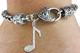 "<bR>                   EXCLUSIVELY OURS!!<BR>             AN ALLAN ROBIN DESIGN!!<BR>    CLICK HERE TO SEE 600+ EXCITING<BR>       CHANGES THAT YOU CAN MAKE!<BR>                 LEAD & NICKEL FREE!!<BR>       W1275SB - ""MUSIC NOTE"" <BR>   CHARM & HEART CLASP BRACELET <BR>         FROM $5.63 TO $12.50 �2012"