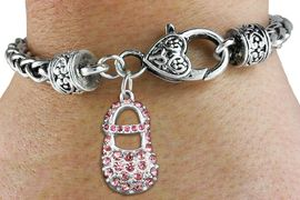 "<bR>                   EXCLUSIVELY OURS!!<BR>             AN ALLAN ROBIN DESIGN!!<BR>    CLICK HERE TO SEE 600+ EXCITING<BR>       CHANGES THAT YOU CAN MAKE!<BR>                 LEAD & NICKEL FREE!!<BR>       W1276SB - ""GIRL'S BABY SHOE""<BR>   CHARM & HEART CLASP BRACELET <BR>         FROM $5.63 TO $12.50 �2012"