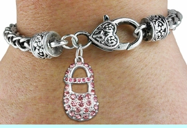 """<bR>                   EXCLUSIVELY OURS!!<BR>             AN ALLAN ROBIN DESIGN!!<BR>    CLICK HERE TO SEE 600+ EXCITING<BR>       CHANGES THAT YOU CAN MAKE!<BR>                 LEAD & NICKEL FREE!!<BR>       W1276SB - """"GIRL'S BABY SHOE""""<BR>   CHARM & HEART CLASP BRACELET <BR>         FROM $5.63 TO $12.50 �2012"""