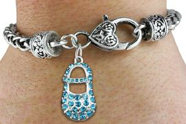 """<bR>                   EXCLUSIVELY OURS!!<BR>             AN ALLAN ROBIN DESIGN!!<BR>    CLICK HERE TO SEE 600+ EXCITING<BR>       CHANGES THAT YOU CAN MAKE!<BR>                 LEAD & NICKEL FREE!!<BR>        W1277SB - """"BOY'S BABY SHOE""""<BR>   CHARM & HEART CLASP BRACELET <BR>         FROM $5.63 TO $12.50 �2012"""