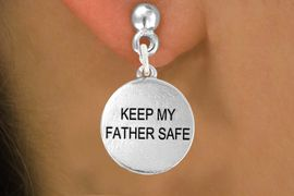 """<bR>               EXCLUSIVELY OURS!!<BR>         AN ALLAN ROBIN DESIGN!!<BR>CLICK HERE TO SEE 600+ EXCITING<BR>   CHANGES THAT YOU CAN MAKE!<BR>              LEAD & NICKEL FREE!! <BR>W1279SE -  """"KEEP MY FATHER SAFE""""  <BR>   CHARM PIERCED EAR EARRINGS <BR>      FROM $4.50 TO $8.35 �2012"""