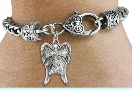 <bR>                   EXCLUSIVELY OURS!!<BR>             AN ALLAN ROBIN DESIGN!!<BR>    CLICK HERE TO SEE 600+ EXCITING<BR>       CHANGES THAT YOU CAN MAKE!<BR>                 LEAD & NICKEL FREE!!<BR>W1282SB - CROSS WITH ANGEL WINGS <BR>   CHARM & HEART CLASP BRACELET <BR>         FROM $5.63 TO $12.50 �2012