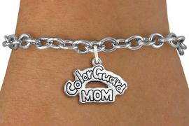 "<bR>               EXCLUSIVELY OURS!!<BR>         AN ALLAN ROBIN DESIGN!!<BR>CLICK HERE TO SEE 600+ EXCITING<BR>   CHANGES THAT YOU CAN MAKE!<BR>             LEAD & NICKEL FREE!! <BR>W1285SB - POLISHED SILVER TONE <BR>""COLOR GUARD MOM"" CHARM BRACELET <BR>     FROM $4.15 TO $8.00 �2012"
