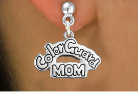 "<bR>               EXCLUSIVELY OURS!!<BR>         AN ALLAN ROBIN DESIGN!!<BR>CLICK HERE TO SEE 600+ EXCITING<BR>   CHANGES THAT YOU CAN MAKE!<BR>              LEAD & NICKEL FREE!! <BR>W1285SE -  SILVER TONE CHARM <BR>"" COLOR GUARD MOM"" EARRINGS  <BR>      FROM $4.50 TO $8.35 �2012"