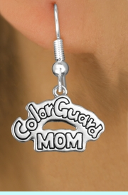 """<bR>               EXCLUSIVELY OURS!!<BR>         AN ALLAN ROBIN DESIGN!!<BR>CLICK HERE TO SEE 600+ EXCITING<BR>   CHANGES THAT YOU CAN MAKE!<BR>              LEAD & NICKEL FREE!! <BR>W1285SE -  SILVER TONE CHARM <BR>"""" COLOR GUARD MOM"""" EARRINGS  <BR>      FROM $4.50 TO $8.35 �2012"""