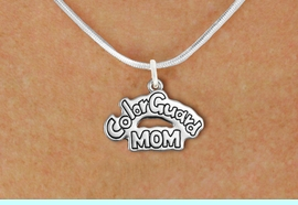 """<bR>               EXCLUSIVELY OURS!!<BR>         AN ALLAN ROBIN DESIGN!!<BR>CLICK HERE TO SEE 600+ EXCITING<BR>   CHANGES THAT YOU CAN MAKE!<BR>              LEAD & NICKEL FREE!! <BR>W1285SN -  """"COLOR GUARD MOM"""" <Br>SILVER TONE CHARM & NECKLACE <BR>      FROM $4.50 TO $8.35 �2012"""