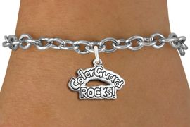 "<bR>               EXCLUSIVELY OURS!!<BR>         AN ALLAN ROBIN DESIGN!!<BR>CLICK HERE TO SEE 600+ EXCITING<BR>   CHANGES THAT YOU CAN MAKE!<BR>             LEAD & NICKEL FREE!! <BR>W1286SB - POLISHED SILVER TONE <BR>""COLOR GUARD ROCKS!"" CHARM BRACELET <BR>     FROM $4.15 TO $8.00 �2012"