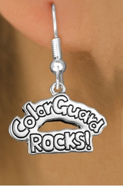 "<bR>               EXCLUSIVELY OURS!!<BR>         AN ALLAN ROBIN DESIGN!!<BR>CLICK HERE TO SEE 600+ EXCITING<BR>   CHANGES THAT YOU CAN MAKE!<BR>              LEAD & NICKEL FREE!! <BR>W1286SE -  SILVER TONE CHARM <BR>"" COLOR GUARD ROCKS!"" EARRINGS  <BR>      FROM $4.50 TO $8.35 �2012"