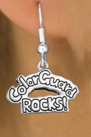 """<bR>               EXCLUSIVELY OURS!!<BR>         AN ALLAN ROBIN DESIGN!!<BR>CLICK HERE TO SEE 600+ EXCITING<BR>   CHANGES THAT YOU CAN MAKE!<BR>              LEAD & NICKEL FREE!! <BR>W1286SE -  SILVER TONE CHARM <BR>"""" COLOR GUARD ROCKS!"""" EARRINGS  <BR>      FROM $4.50 TO $8.35 �2012"""