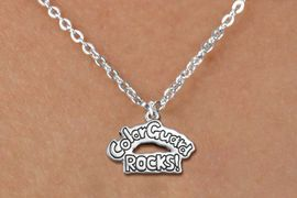"""<bR>               EXCLUSIVELY OURS!!<BR>         AN ALLAN ROBIN DESIGN!!<BR>CLICK HERE TO SEE 600+ EXCITING<BR>   CHANGES THAT YOU CAN MAKE!<BR>              LEAD & NICKEL FREE!! <BR>W1286SN -  """"COLOR GUARD ROCKS!"""" <Br>SILVER TONE CHARM & CHILDS NECKLACE <BR>      FROM $4.50 TO $8.35 �2012"""