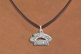 """<bR>               EXCLUSIVELY OURS!!<BR>         AN ALLAN ROBIN DESIGN!!<BR>CLICK HERE TO SEE 600+ EXCITING<BR>   CHANGES THAT YOU CAN MAKE!<BR>              LEAD & NICKEL FREE!! <BR>W1286SN -  """"COLOR GUARD ROCKS!"""" <Br>SILVER TONE CHARM & NECKLACE <BR>      FROM $4.50 TO $8.35 �2012"""