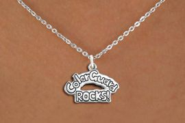 "<bR>               EXCLUSIVELY OURS!!<BR>         AN ALLAN ROBIN DESIGN!!<BR>CLICK HERE TO SEE 600+ EXCITING<BR>   CHANGES THAT YOU CAN MAKE!<BR>              LEAD & NICKEL FREE!! <BR>W1286SN -  ""COLOR GUARD ROCKS!"" <Br>SILVER TONE CHARM & NECKLACE <BR>      FROM $4.50 TO $8.35 �2012"