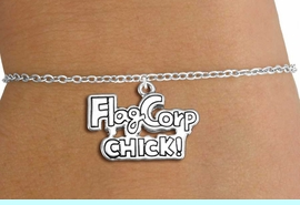 """<bR>               EXCLUSIVELY OURS!!<BR>         AN ALLAN ROBIN DESIGN!!<BR>CLICK HERE TO SEE 600+ EXCITING<BR>   CHANGES THAT YOU CAN MAKE!<BR>             LEAD & NICKEL FREE!! <BR>W1287SB - """"FLAG CORP CHICK!""""  <BR>SILVER TONE CHILDS CHARM BRACELET <BR>     FROM $4.15 TO $8.00 �2012"""